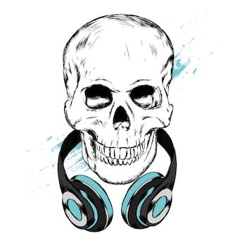 Crânio em fones de ouvido e óculos