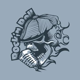 Crânio em um boné cantando no microfone