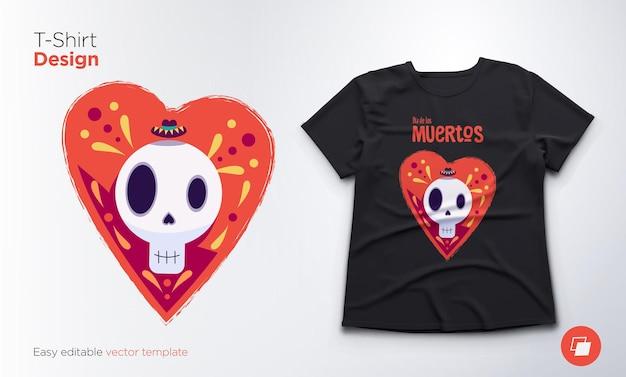 Crânio engraçado dentro de uma ilustração de coração e camiseta
