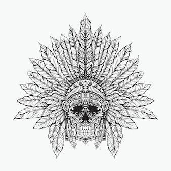 Crânio floral indiano artístico linha arte design preto e branco