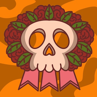 Crânio, folhas, coroa de flores, ilustração.