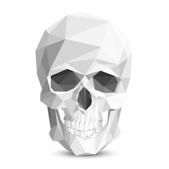 Crânio geométrico de baixo poli.