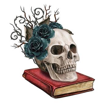 Crânio gótico em aquarela em um livro com espinhos e rosas pretas
