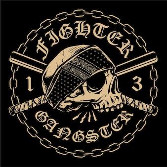 Crânio hardcore com logotipo do emblema do bastão cruzado e corrente circular