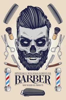 Crânio hipster com equipamento de barbeiro