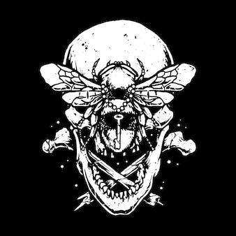 Crânio horror borboleta ilustração arte design