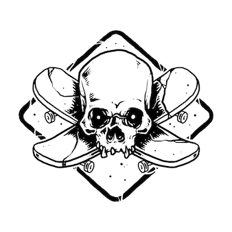 Crânio horror skateboard ilustração arte design