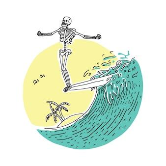 Crânio horror surf nariz praia feriado ilustração arte design