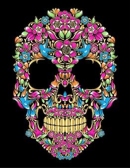 Crânio huichol colorido mexicano