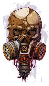 Crânio humano colorido detalhado com máscara de gás