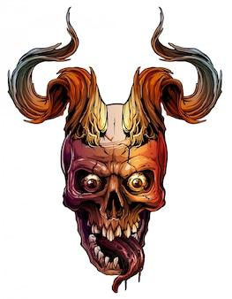 Crânio humano colorido gráfico com chifres de touro