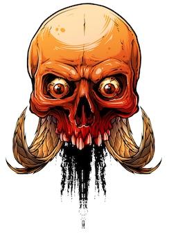 Crânio humano colorido gráfico com chifres deamon
