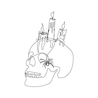 Crânio humano com aranha e velas acesas uma linha de arte linha contínua de tema de halloween
