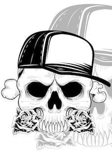 Crânio humano com boneflower e chapéu