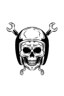 Crânio humano com capacete com ilustração vetorial chave