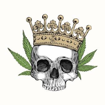 Crânio humano com coroa e cannabis, desenho à mão