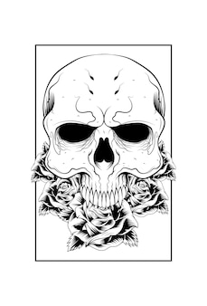 Crânio humano com flor rosa e ilustração vetorial retangular