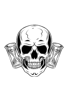 Crânio humano com ilustração vetorial de ampulheta