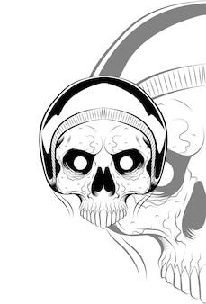 Crânio humano com ilustração vetorial de capacete
