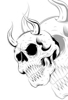 Crânio humano com ilustração vetorial de demônios