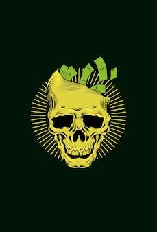 Crânio humano com ilustração vetorial de dinheiro