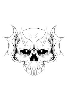Crânio humano com ilustração vetorial de dragão