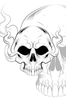 Crânio humano com ilustração vetorial de fumaça de ar