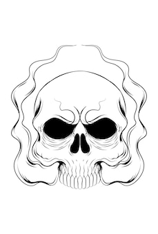 Crânio humano com ilustração vetorial de fumaça