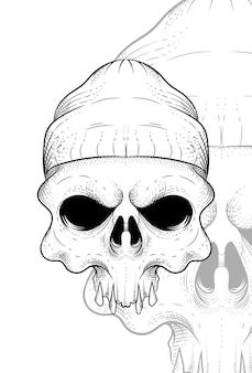 Crânio humano com ilustração vetorial de gorro