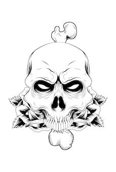 Crânio humano com ilustração vetorial de rosa e osso