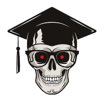 Crânio humano com óculos graduados e olhos vermelhos