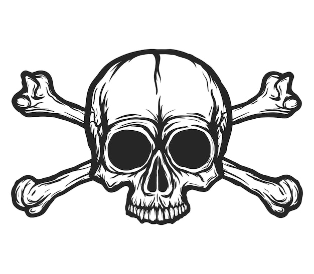 Crânio humano com silhueta de vetor de ossos isolada no branco. mão-extraídas ilustração preto e branco do crânio. tatuagem ou design de impressão. fundo transparente.