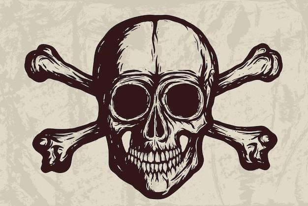 Crânio humano com silhueta de vetor de ossos no grunge.