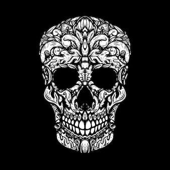 Crânio humano desenhado à mão com formas florais