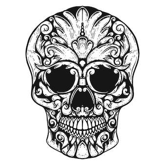 Crânio humano desenhado à mão formas florais.