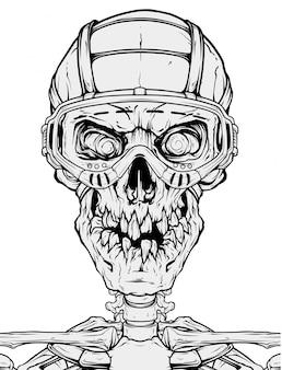 Crânio humano detalhado com óculos de proteção
