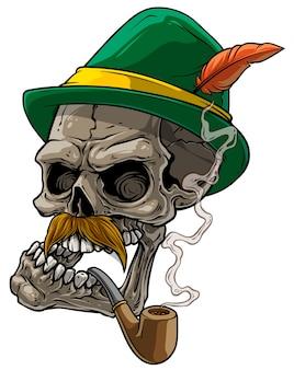 Crânio humano dos desenhos animados no chapéu tradicional da baviera