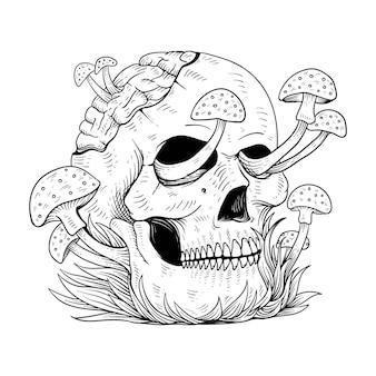 Crânio humano e cogumelo brotado desenho ilustração vetorial de gravura