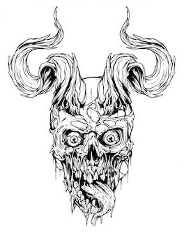 Crânio humano gráfico com chifres de touro