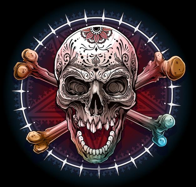 Crânio humano gráfico com estrela pentagrama