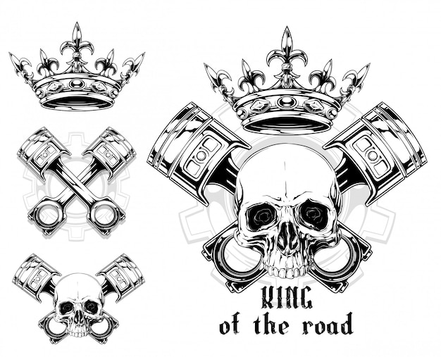 Crânio humano gráfico com pistão cruzado e coroa