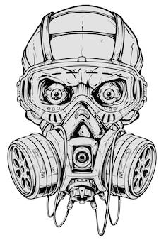 Crânio humano gráfico detalhado com máscara de gás