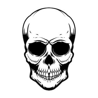 Crânio humano isolado no fundo branco. elemento de design para cartaz, cartão, banner, camiseta, emblema, sinal. ilustração vetorial