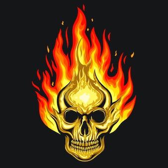 Crânio humano na ilustração de fogo