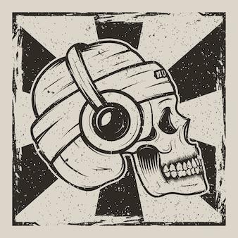 Crânio humano no chapéu e com fones de ouvido, ouvindo música