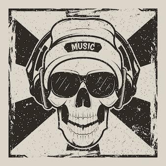 Crânio humano no chapéu, óculos e com fones de ouvido, ouvindo música