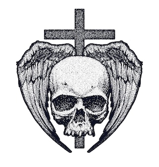 Crânio humano preto e branco com asas e ilustração transversal
