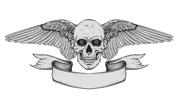 Crânio humano realista preto e branco desenhado à mão com asas