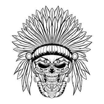 Crânio indiano preto e branco