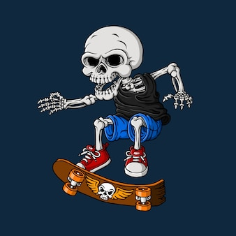 Crânio jogando skate, mão desenhada, vetor